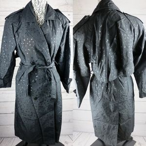 VTG J. Gallery Petite Black Belted Long Raincoat